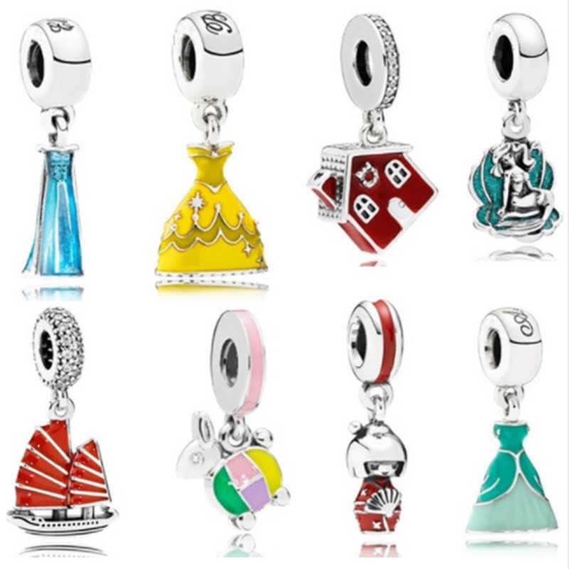Dodocharms новый модный подарок Микки золото девушка юбка браслет кулон браслет серебряный цвет подходят ювелирные украшения Пандора бисера