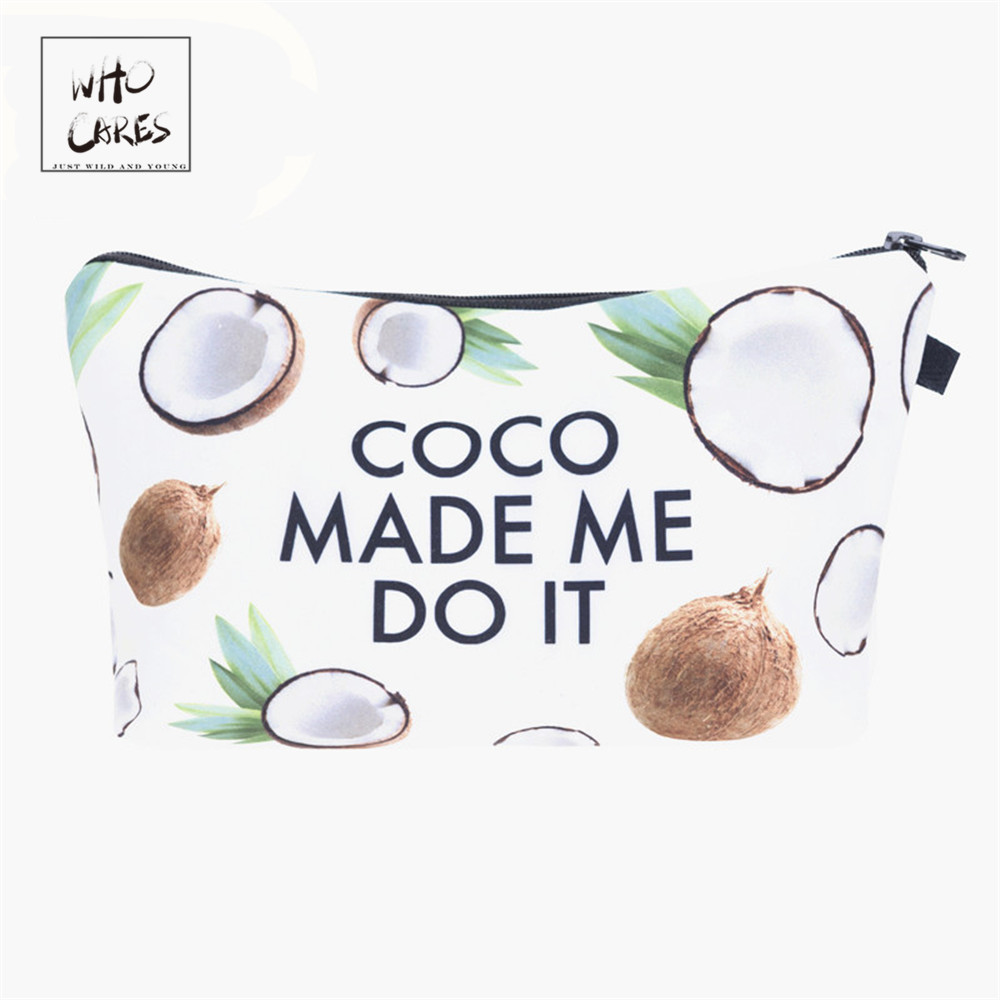 Who Cares Coconut 3D Printing Makeup Bags Cosmetics Pouchs For Travel Ladies Pouch Women Cosmetic Bag