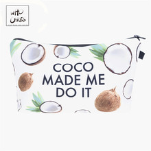 Who Cares Coconut 3D Printing Makeup Bags Cosmetics Pouchs F