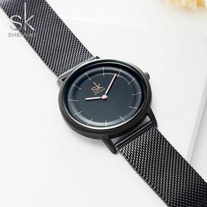 Image 5 - Sk relógios de couro moda simples relógios de quartzo para reloj mujer senhoras relógio de pulso shengke relogio feminino