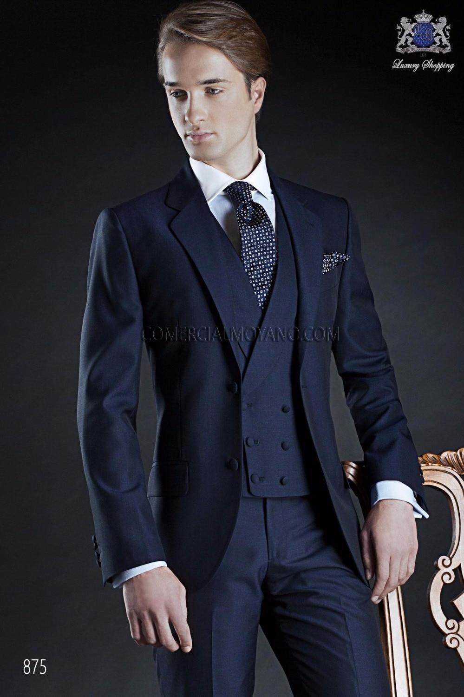 Custom Made Two Button Navy Blue Groom Tuxedos Groomsmen Mens ...