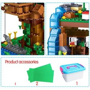 Image 3 - 1208PCS Building Blocks City Village Warhorse City Tree House Waterfall Bricks Educational Kids Toys for children