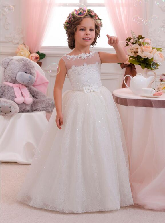 Ivory Lace Tulle Floor Length Wedding Flower Girl Dress Lace Sequins 2018 New Ball Gown First Communion Dress for Girls luxury bling bling flower girl dress for wedding beaded lace crystals ball gown girls first communion dress custom size