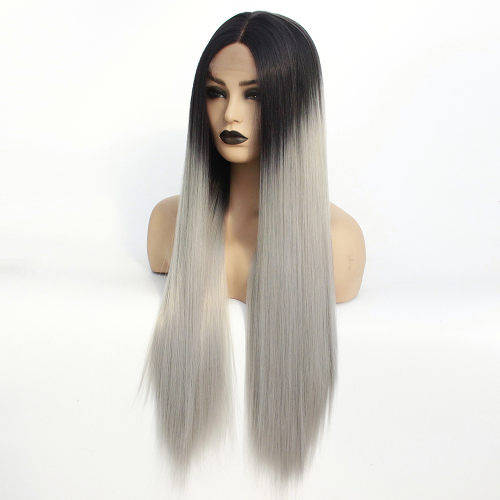 Long Middle Part Wig Ombre Grey Lace Front Wig for Women or Girls Cosplay Daily Party Heat Resistant Full Wigs Straight Real Gray Fiber Wig (Not Human Hair) Half Hand Tied-6