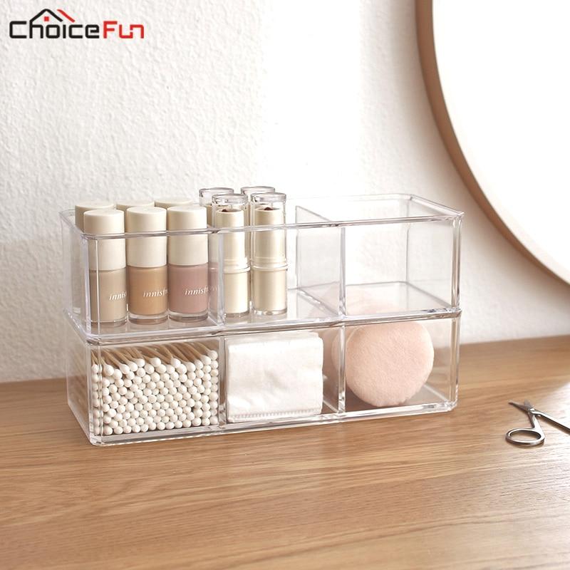 CHOICEFUN de bricolaje de plástico transparente de escritorio de baño de algodón acrílico muestra de esmalte de uñas maquillaje cosmético organizador de almacenamiento de la caja de