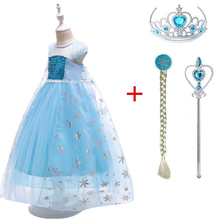 2019 New Queen Elsa Dresses Elza Costumes Princess Anna Dress for Girls Party Vestidos Fantasia Kids Girls Clothing Ana Set недорого