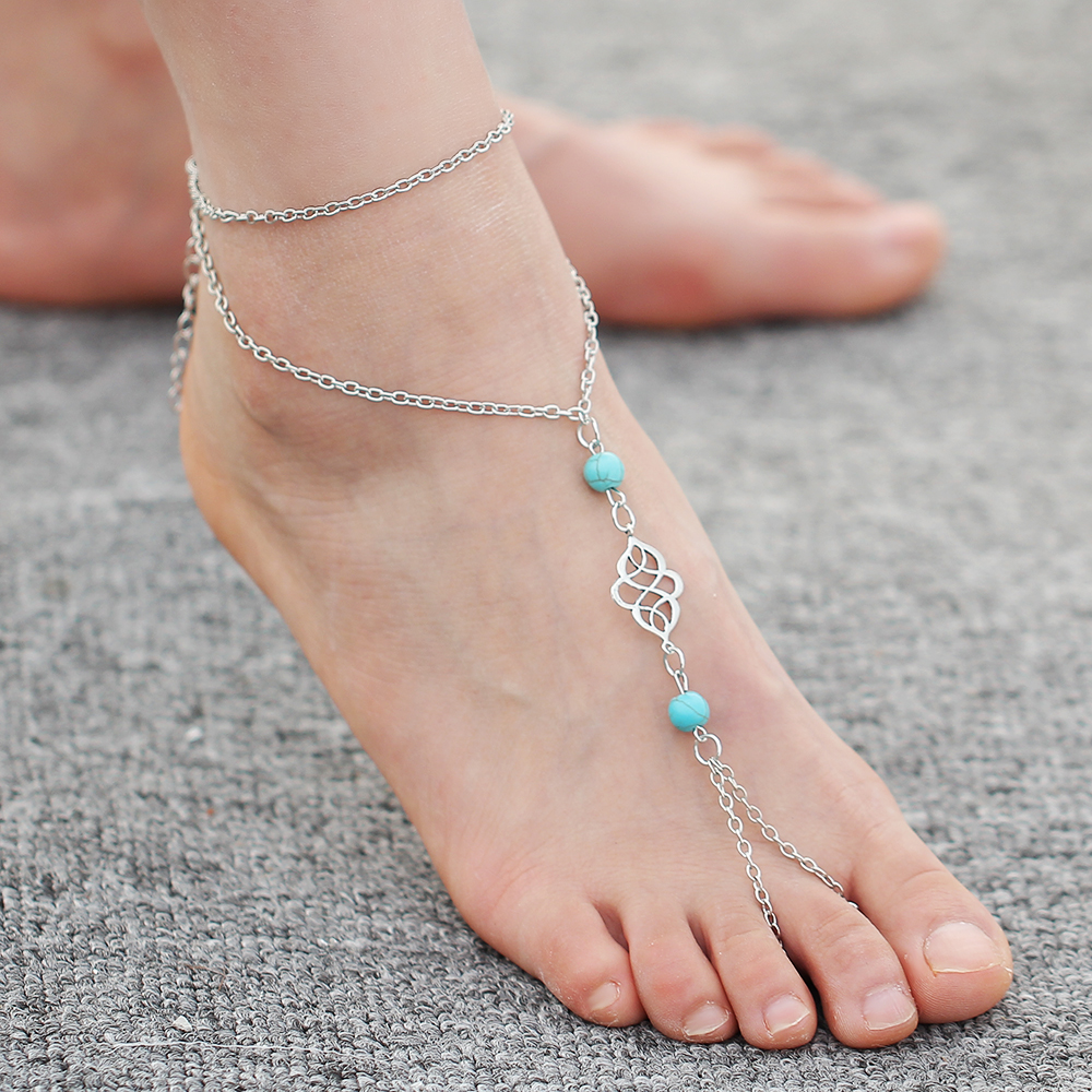 anklets sandals beads artificial barefoot bracelet summer in foot boho from stone anklet bohemian chaine you if big de women item ankles jewelry turquoise pied for ankle