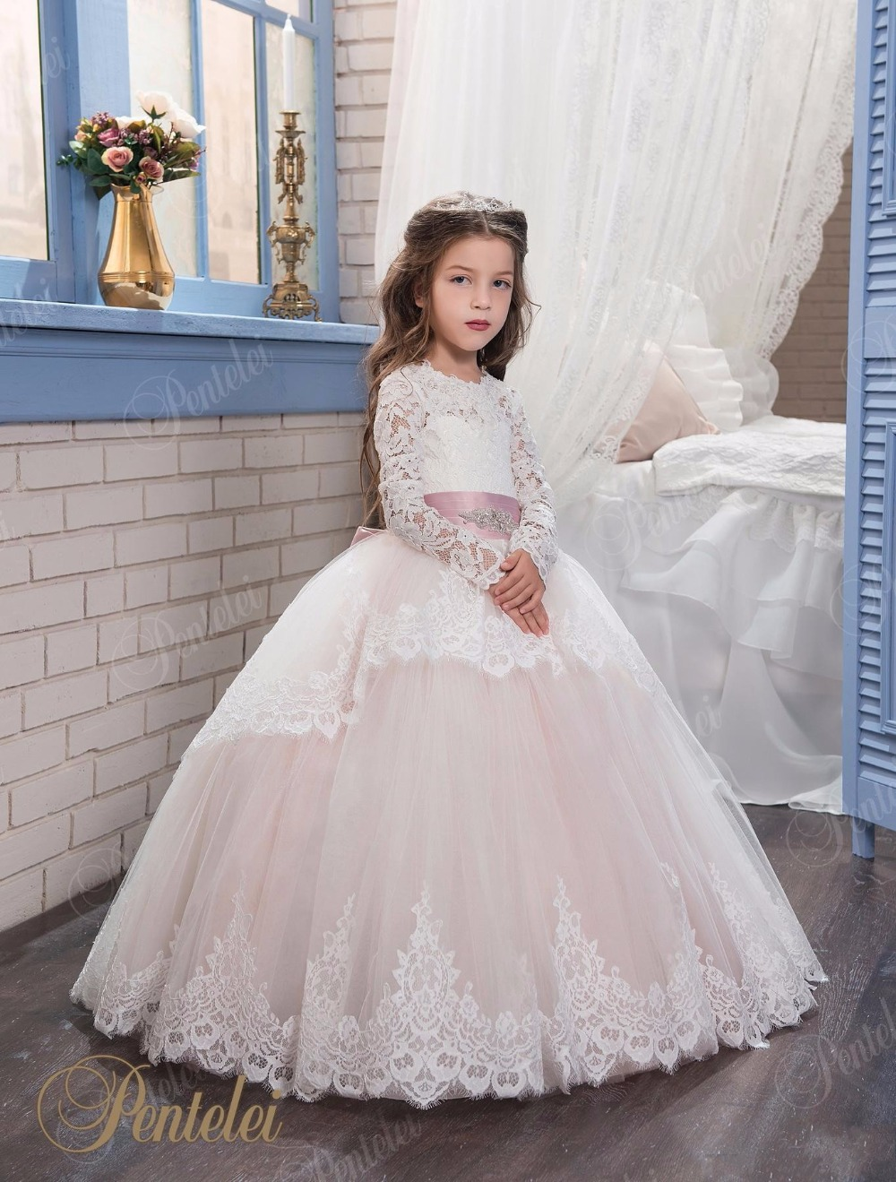 2017 Lace Flower Girl Dresses For Weddings Blush Pink Long