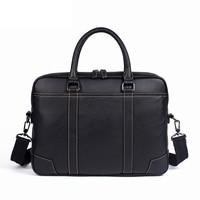 Famous Brand Business Men's Handbags Genuine Leather Briefcases Men Soft Cowhide 14 inch Laptop Bag Man Shoulder Messenger Bags