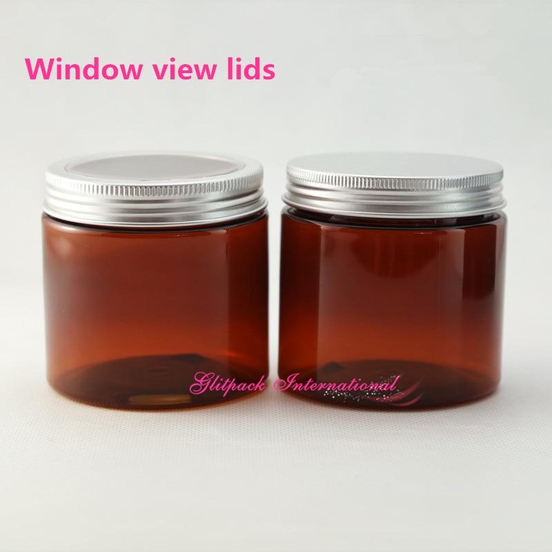 30pcs / lot 200g Amber kozarec z okenskim pogledom pokrov aluminijaste posode 7oz pločevinke, 200ml plastične kozarce s pokrovi na debelo