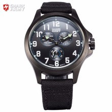 SHARK ARMY Luxury Brand Mens Date Day Black Blue Dial Clock Nylon Strap Outdoor Men Sports Quartz Military Wrist Watches/SAW130