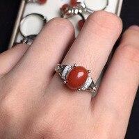 7*9mm ragazze regalo regalo di compleanno mamma reale dell'argento sterlina 925 naturale agata rossa anello fine jewelry