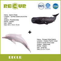 2 Pcs Lot Recur Toy Sperm Whale Chinese White Dolphin Model Hand Painted PVC Action Figure