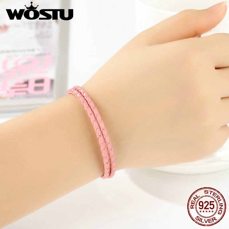100% 925 Sterling Silver & Two Circle prawdziwej skóry różowy łańcuch wisiorek z koralikami Fit Pan bransoletka dla kobiet mężczyzn oryginalna biżuteria