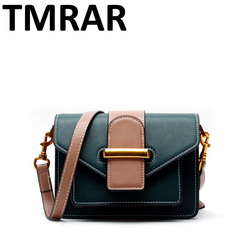 2018 New small panelled trunk flap messenger bags lady split leather handbags women crossbody bags for female bolsas qn302 new 2018 classic small retro flap bag crossbody for female women split leather handbags lady elegant messenger bags an1062