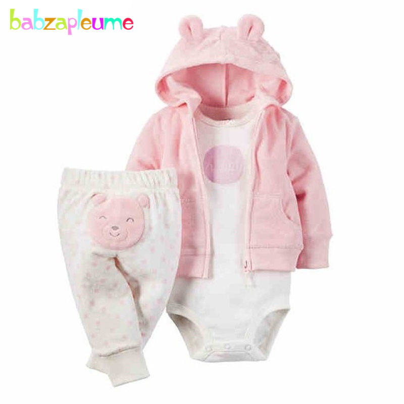 3PCS/0-24Months/Spring Autumn Newborn Baby Boys Girls Clothes Cute Hooded Coat Jackets+Rompers+Pants Infant Clothing Sets BC1102 0 9months autumn winter baby girls boys rompers cartoon cute thick warm hooded jumpsuits newborn clothes infant clothing bc1225