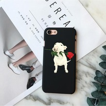 Phone Cases Cute Dogs Bull Terrier Roses flowers Hard Phone Cove Case For iPhone 5 5S SE 6 6S Plus 7 7Plus 8 8Plus X