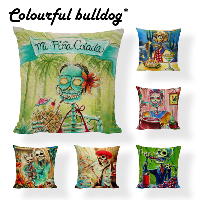 Table & Sofa Linens Home Textile Intelligent Halloween Sugar Skull Cushion Covers Wine Tropical Tree Parrot Painted Art Pillows Covers Linen Home Decor Camping Chair Modern