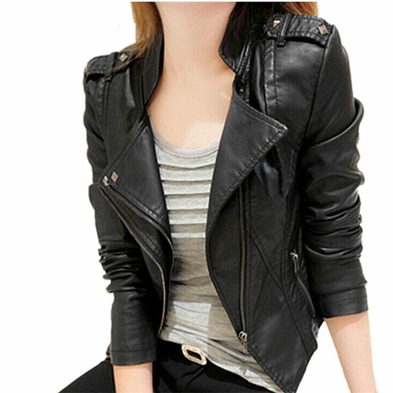 2016 Spring Autumn Leather Jackets Women Rivet Zipper ...