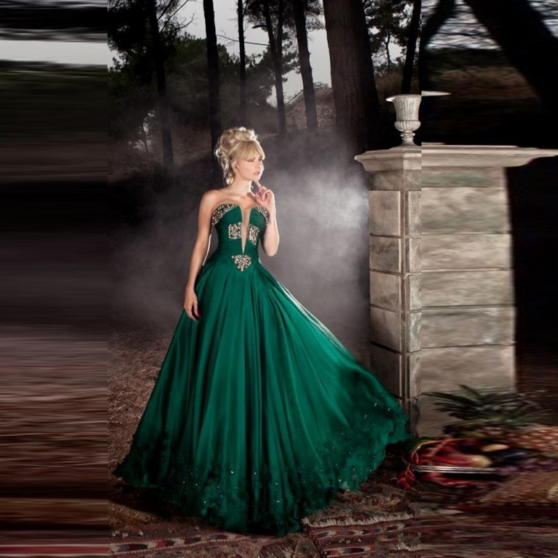 Old-Fashioned Ball Dresses Green