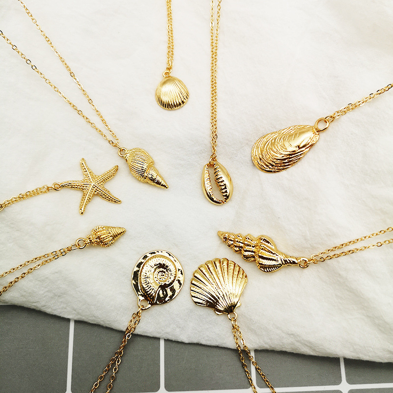 Women Necklace Gold Color Ocean Sea Shell Conch Starfish Pendant Necklace Link Statement Necklace Beach Jewelry in Chain Necklaces from Jewelry Accessories