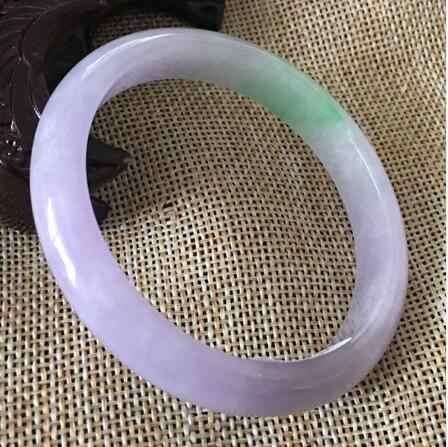 56-62 มม.ได้รับการรับรอง (เกรด A) 100% NATURAL Lavender Jadeite หยกสร้อยข้อมือกำไลข้อมือจัดส่งฟรี