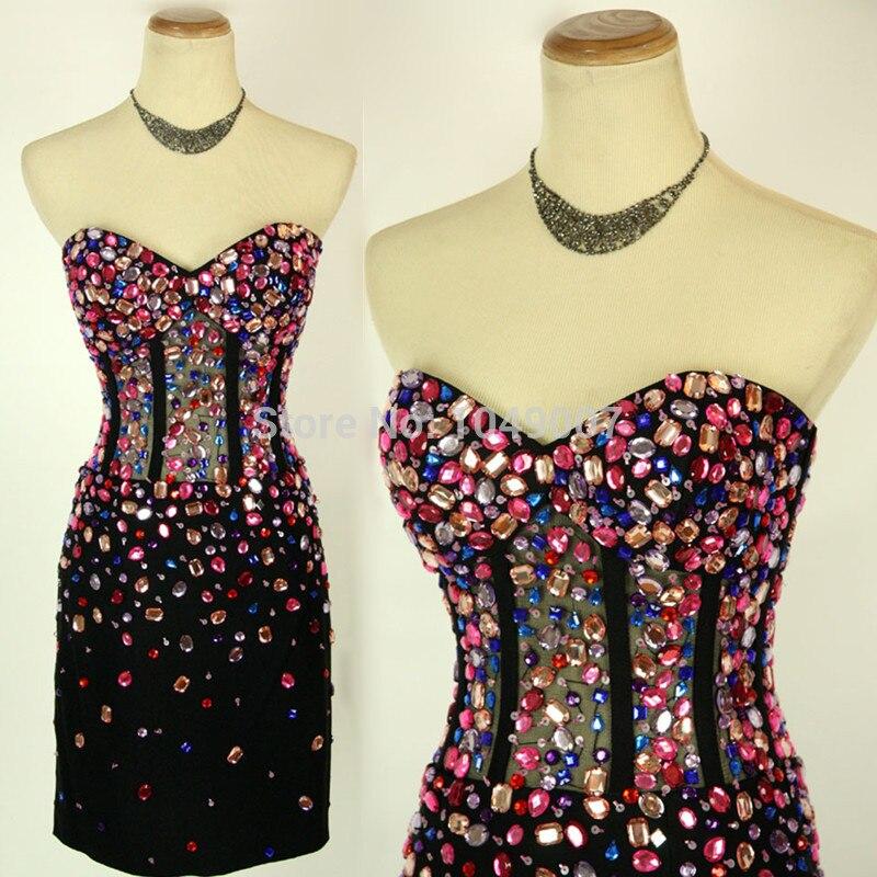 Haute qualité noir pierre cristal retour robes 2019 sur mesure courte robe de bal pour l'obtention du diplôme vestido de festa Cocktail
