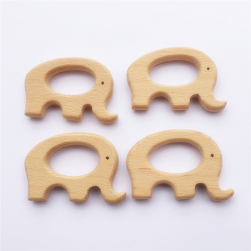 Chenkai 10pcs Elephant Wood Baby Teether Nature Baby Rattle Teething Grasping Toy DIY Eco-friendly Wood Teething Accessories