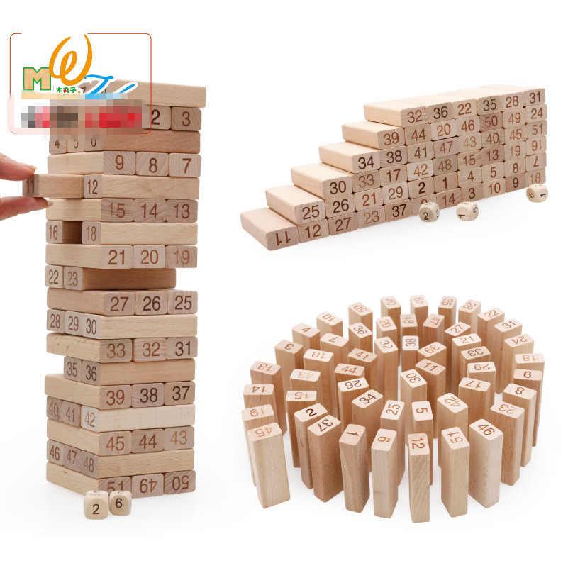 54 шт. дерево Domino Радуга Высокое стеки настольная игра набор деревянных игрушек, детские Классические раннего детства обучающие деревянные блоки игрушка