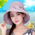 2016 Nuevo Protector Solar de Gran Sombrero de Ala Playa Sol-shading Del Sombrero de Las Mujeres Organza de la Flor Viajar Sombrero Femenino Del Sombrero Del Sol B-2253