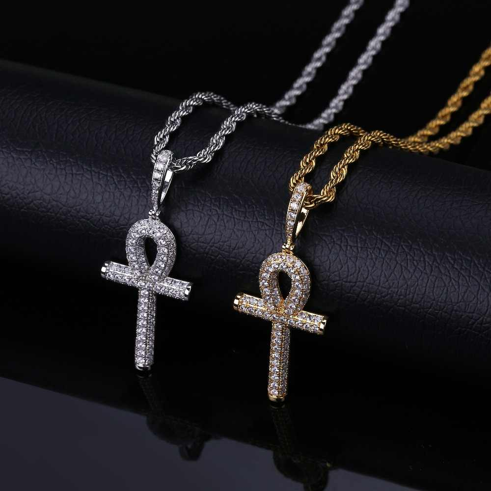 Solid Back Ankh Cross Necklaces Mens Women Hip Hop Gold Silver Color Pendant Necklace Iced Out AAA+ Bling CZ Stone Jewelry Gifts