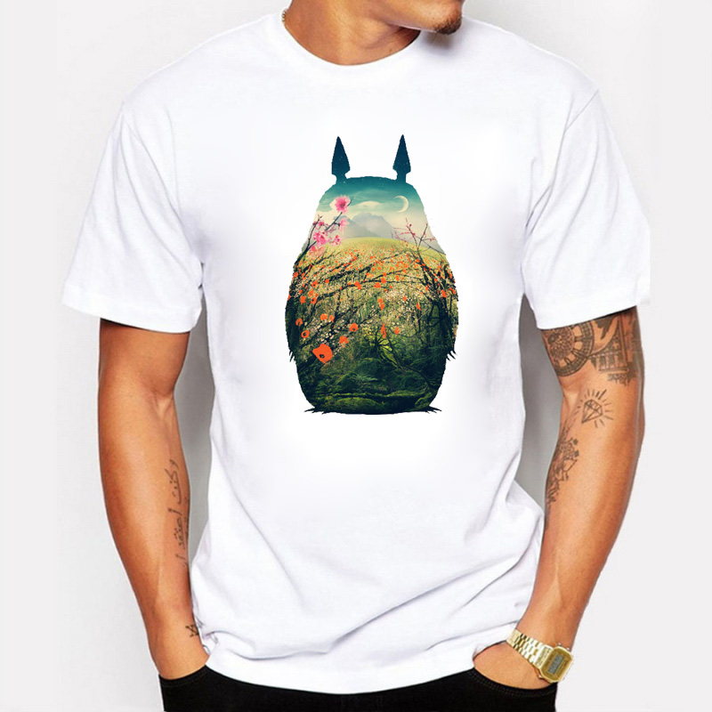 Classic But Fashion Animator Cartoonist Design Cherry Blossom Totoro Printed Men's T-shirts Fitness Cotton Hip Hop Men T Shirts