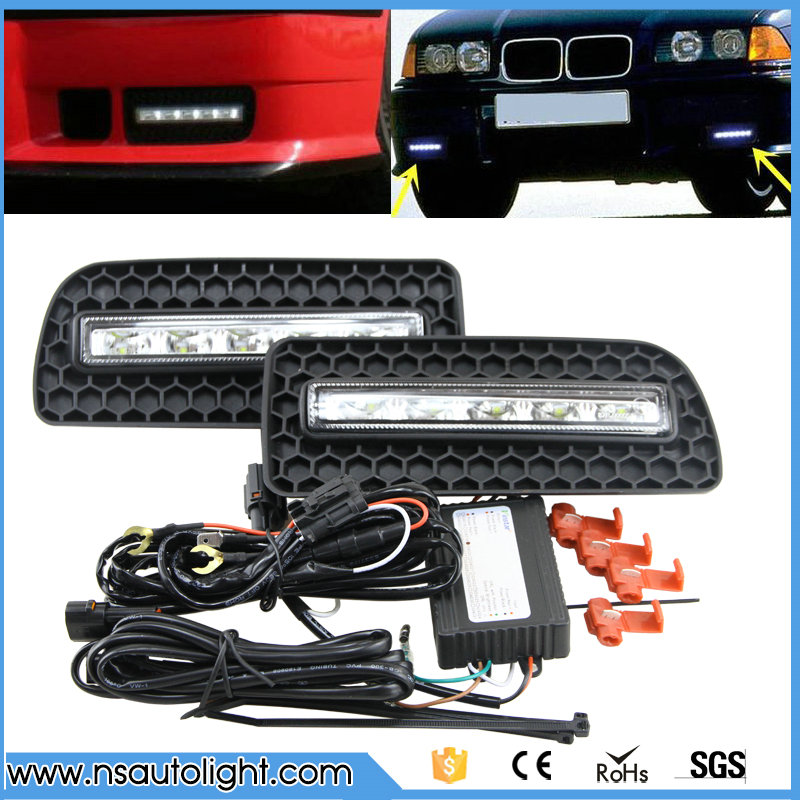 White LED daytime running light for For Bmw 3Series E36 M3 Coupe bumper 1992-1998 drl fog lamp light position function light bmw m3 e30 coupe