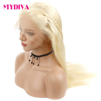 #613 Lace Front Human Hair Wigs Blonde Straight Lace Wig Pre Plucked With Baby Hair For Women 150% Density Remy Hair Mydiva