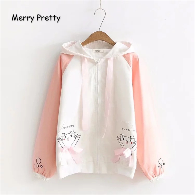 Merry Pretty Women's Autumn Winter   Basic     Jackets   Cartoon Cat Print Ladis Cute Outerwear Coat Casual Zippers Patchwork   Jacket