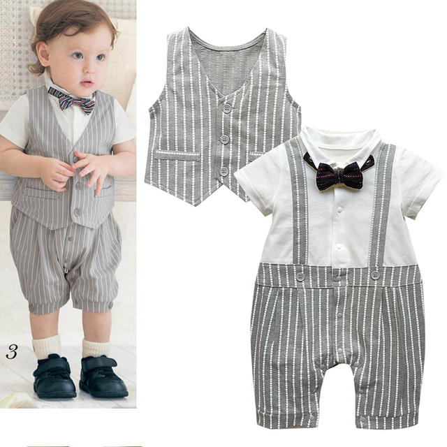 Baby clothing sets gentlemen vest+ bow tie striped romper infant toddler clothes for birthday boy 12,24month infant jumpsuit