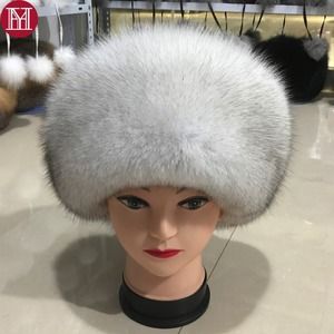 Image 1 - Fashion New Style Luxury Winter Russian Natural Real Fox Fur Hat 2020 Women Warm Good Quality 100% Genuine Real Fox Fur Cap