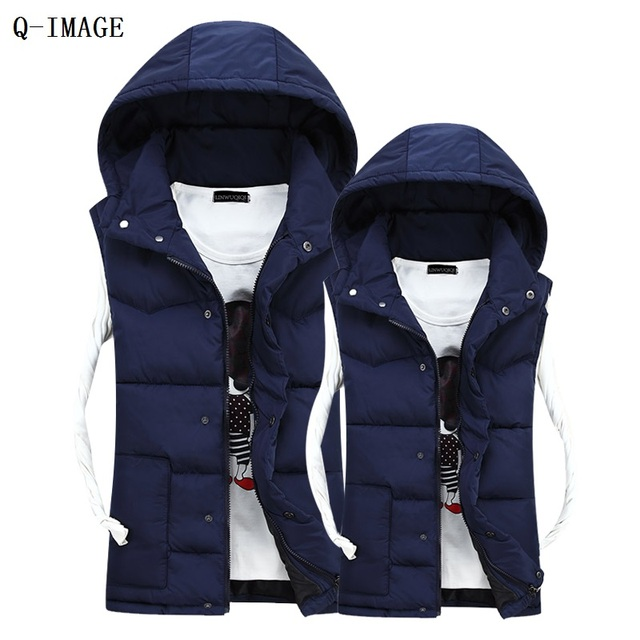 2016 New Style Adults Mens Vest Hoodies Keep Warm Casual Vests For Men Cotton Winter Fall Wear Fashion Men's Vests Free shipping