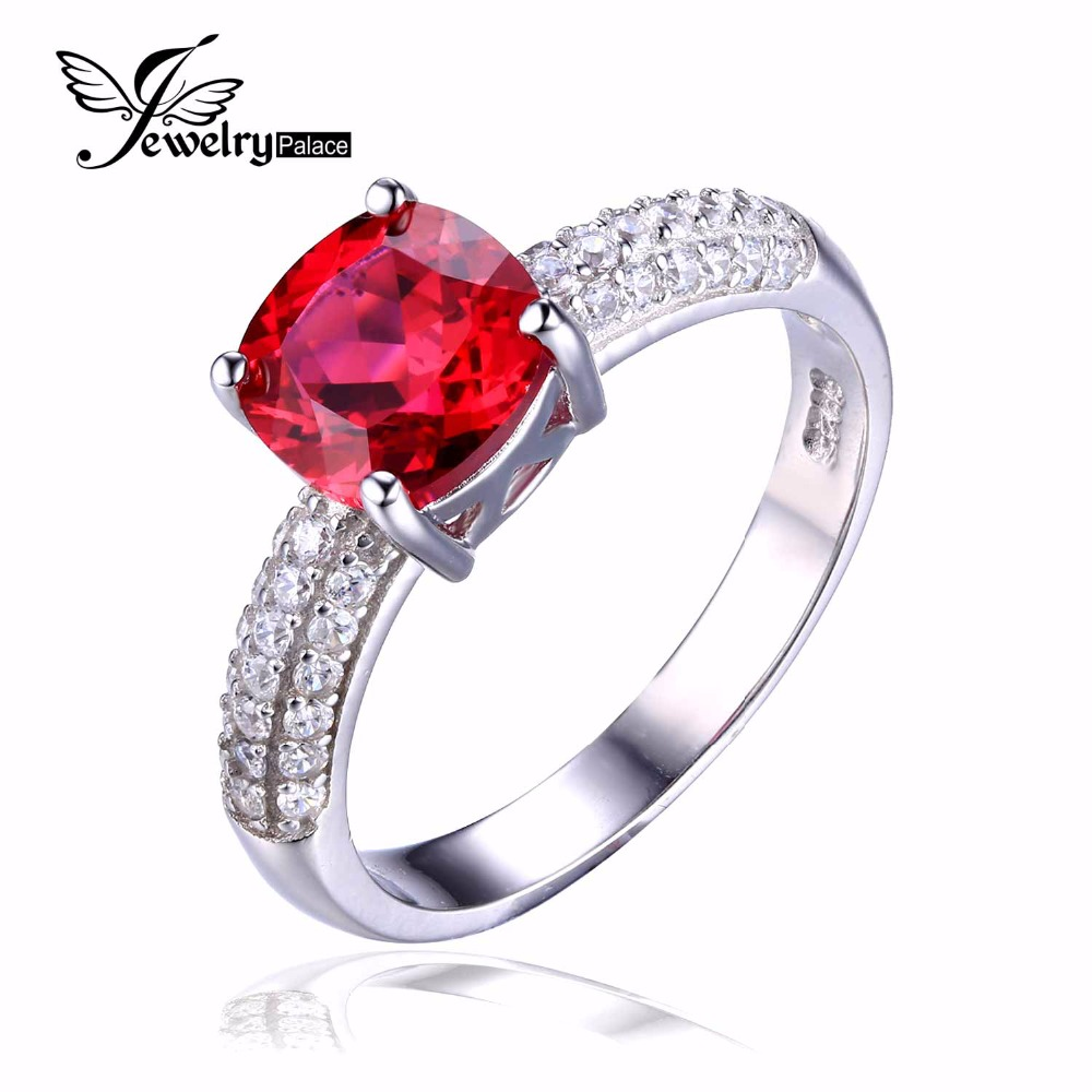 jewelrypalace cushion 26ct created red ruby solitaire engagement ring 925 sterling silver ring fashion design - Ruby Wedding Ring