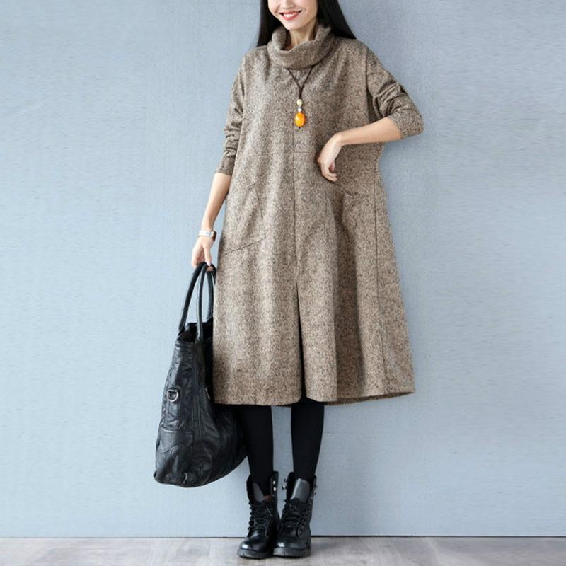 Women Autumn Winter Dress Solid Casual Fashion Turtleneck Cashmere Loose Lady Big Size Female Long Sleeve