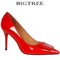 Bigtree Chaussures de Marque Femmes Sexy Glitter Pompes Bout Pointu Stiletto Talon Mince Talons hauts Carré Boucle Femmes Chaussures Glosses pompes