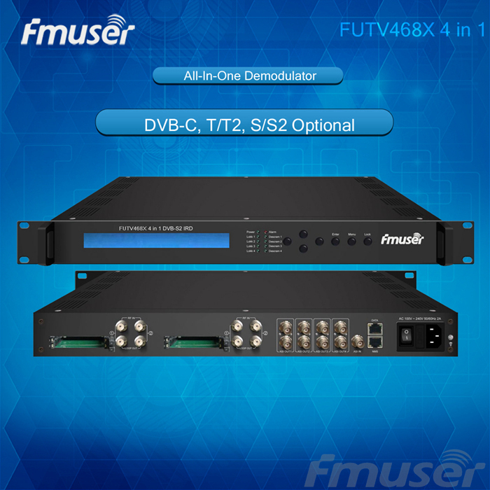 FUTV468X 4-in-1 IRD 4 Tuner CAM Inputs (DVB-C, T/T2, S/S2 Optional) 4ASI Ip Out