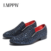 Italian Fashion Glitter Loafers Men Shoes Sequin Wedding Party Mens Loafers Slip on Men Leather Causal Shoes Blue Mocassin Homme