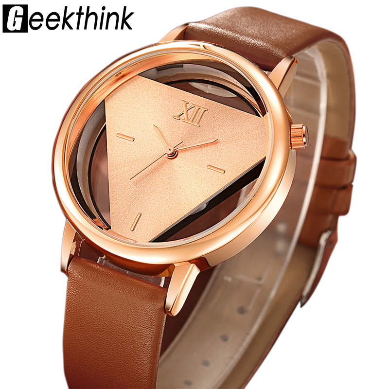GEEKTHINK Hollow Quartz Watch Kvinnor Luxury Brand Gold Ladies Casual Dress Läderband Klocka Kvinnliga Flickor Trending