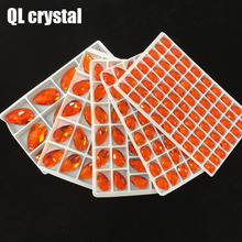 ALL Size QL Crystal 2018 popular Orange red Drops Sew On Crystal Stones Sewing On Rhinestone 2 Holes DIY Garment Dress Making цена 2017