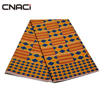 CNACI African Fashion Ghana Kente Cloth Real Wax Fabric Patchwork Tissu Wax Polyester Material Ankara African Wax Print Fabric