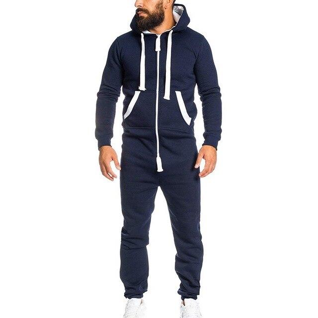 Puimentiua 2019 Rahat Eşofman Tulum Erkek Tulumları Uzun Kollu Tişörtü Hoodies Rahat Uzun Pantolon Romper Erkek Tulum