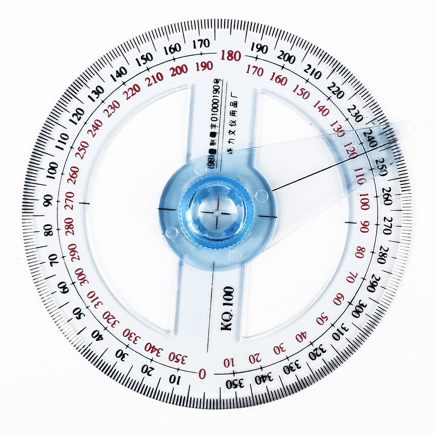 1PC/lot Hot Sale Circular 10cm Plastic 360 Degree Pointer Protractor Rulers Angle Finder For Student Stationery Gift Protractor