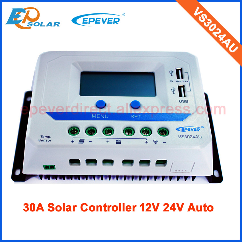 30amp 30A Regulator solar panels Battery Controller PWM VS3024AU bulit in USB output can charge for electronic device 20a 12 24v solar regulator with remote meter for duo battery charging