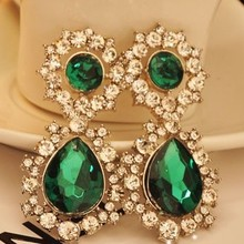 Free Shipping! High-quality Trendy Green Big Stone Crystal Bling Rhinestones Luxurious Earrings for Women Party Jewelry